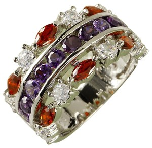 Garnet And Amethyst gem stones fashion ring