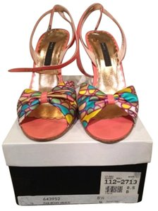 Marc Jacobs Ankle Strap Satin Summer Sandal Pink/Multi Print Pumps