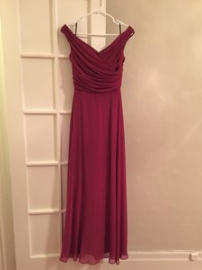 Dessy Burgundy Lux Chiffon Bridesmaid/Mob Dress Size 4 (S)
