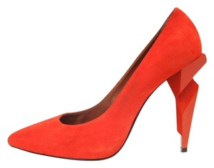 Fendi Suede Diamond Heels Heels Geometric Heels Decollete Red Rosso Pumps