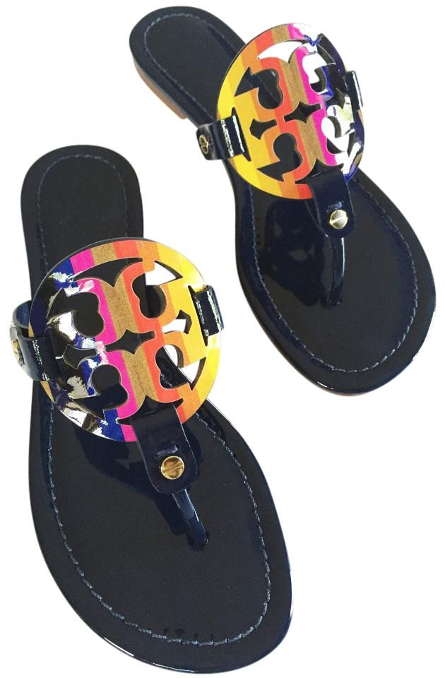 e8df5fdab679 Tory Burch Royal Navy Miller Rainbow Logo Patent Leather Flat Sandals