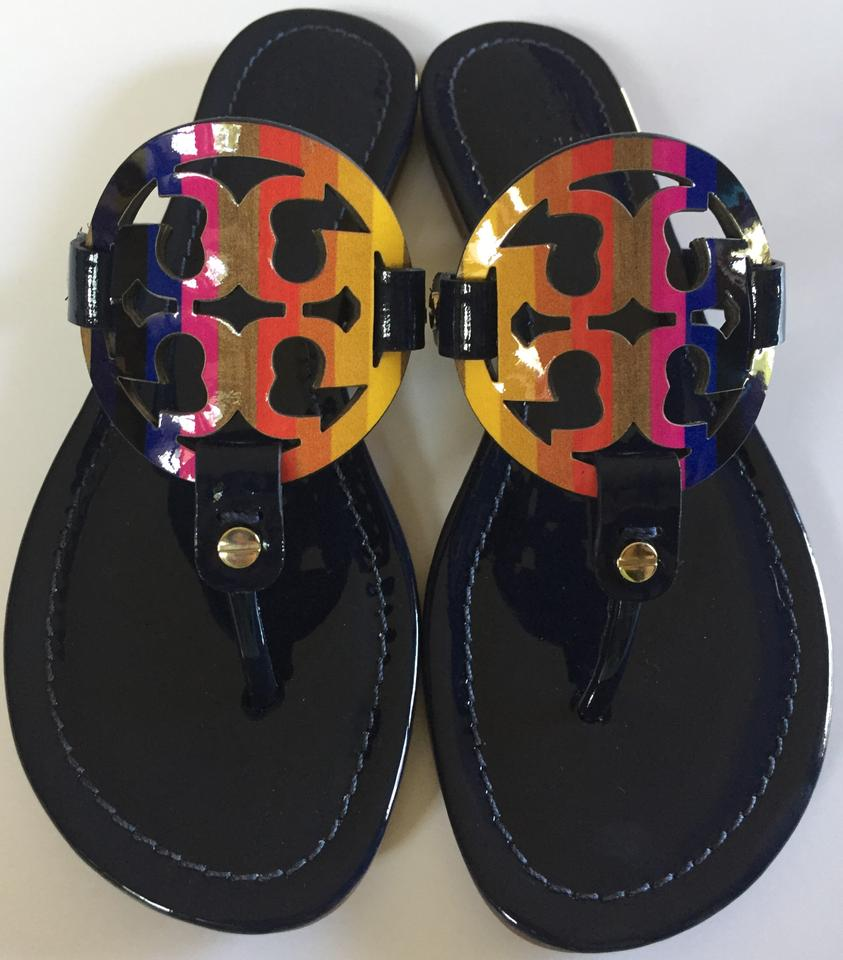 eefdf5398fc7 Tory Burch Royal Navy Miller Rainbow Logo Patent Leather Flat ...