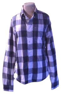 Abercrombie & Fitch Plaid Cotton Classic Button Down Shirt Blue/White