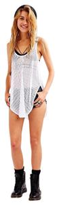 Silence + Noise Ribbed Racer Back Sheer Top White