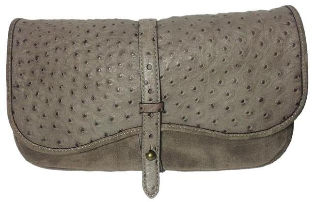 Kate Spade Westward Ingenue Suede Taupe Ostrich Leather Clutch Kate Spade Westward Ingenue Suede Taupe Ostrich Leather Clutch Image 1