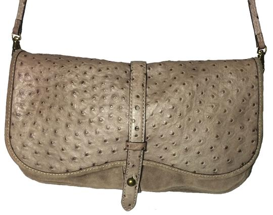 Kate Spade Ostrich Suede Taupe Clutch Image 1