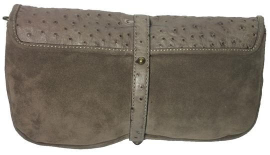 Kate Spade Ostrich Suede Taupe Clutch Image 2