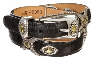 Brighton Brighton Black Leather Silver Metal Detail Belt (Size 28)