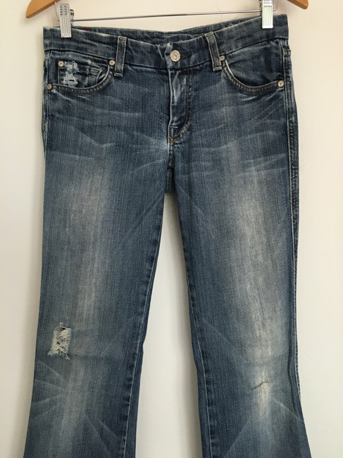 7 For All Mankind A Pocket Hole Flare Leg Jeans-Distressed Image 1