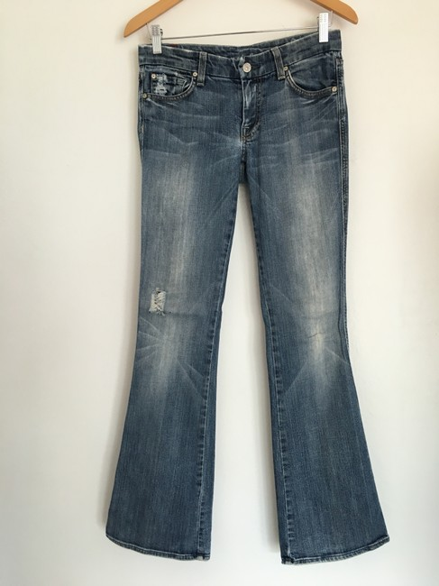 7 For All Mankind A Pocket Hole Flare Leg Jeans-Distressed Image 2