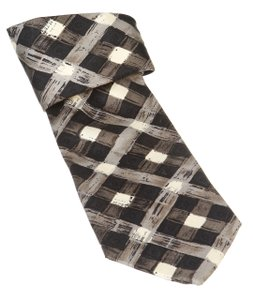 Boss By Hugo Boss Boss By Hugo Boss Gray Multicolor Check Print Men's Silk Tie