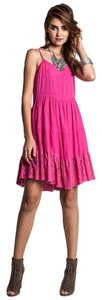 Umgee short dress PINK, FUCHSIA, MAGENTA Boho Free People Hi Lo Spaghetti Strap on Tradesy