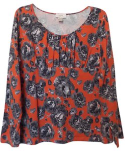 Ann Taylor LOFT Knit Cotton Lightweight Rose Xl Top Red + black, grey and white