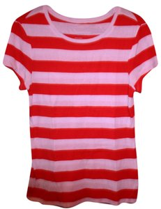 Old Navy Vibrant Summer T Shirt Orange and White Striped