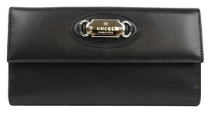Gucci New Gucci Black Leather Clutch Continental Wallet w/Plaque 231841 1000