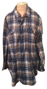 Quiksilver Plaid Flannel Boyfriend Button Down Shirt Blue Plaid