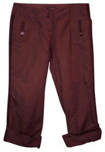 New York & Company Ribbon Buttons Casual Capris Chocolate Brown