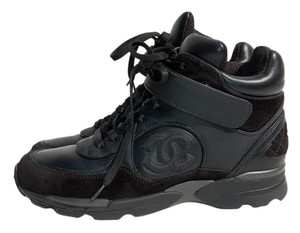 Chanel Sneackers Trainers Leather Cc Black Athletic
