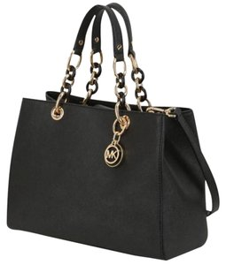 Michael Kors Mk Saffiano Leather Satchel in Black/Gold hardware