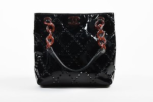 Chanel Patent Leather Perforated Chain Strap Tote in Black