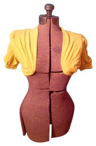Ambiance Apparel Shrug Spandex Cotton Top Yellow