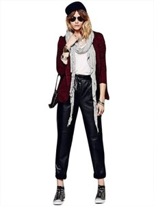 Free People Leather Relaxed Fit Jeans