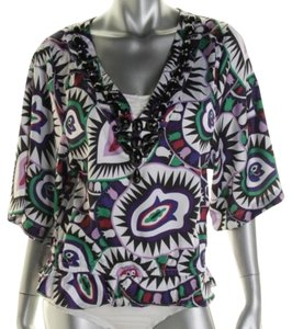 Rachel Lym Rachel Lym Purple Print Embellished Satin Cover-up Blouse Top NWT $120