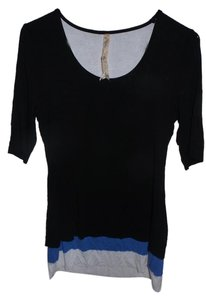 Bailey 44 Soft Casual Comfortable T Shirt Black with Blue and White Trimming