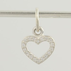 PANDORA Pandora Charm Sterling Silver 390325 Be My Valentine Clear Cz Heart Pendant