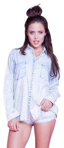 Lovers + Friends + Cotton Button Down Shirt Acid Wash