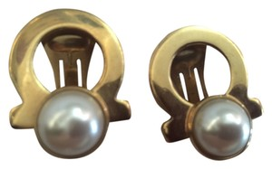 Salvatore Ferragamo Ferragamo earrings clip gold faux pearl Italy gancini logo iconic