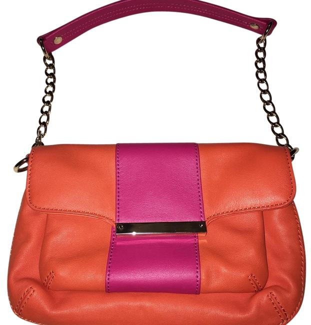 Item - Orange Pink Embossed Leather Shoulder Bag