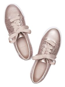 Tory Burch Leather Athletic Sneakers Metallic Rose Gold Flats