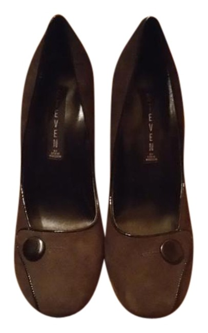 Item - Grey with Black Trim Pumps Size US 7.5 Regular (M, B)