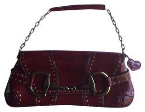 Rina Rich Chrome Studded Leather Bordeaux Clutch