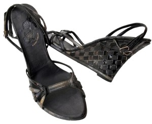 Bottega Veneta Woven Intrecciato Wedges Olive Green & Black Sandals