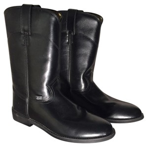 Justin Boots Leather Ropers Vintage Cowboy Black Cowhide Boots