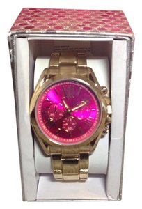 NWT womens boy friend watch gold pink