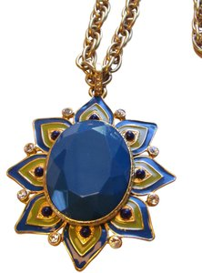 Nordstrom Gold plated Crystal and Enamel Statment Pendant Necklace