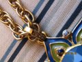 Nordstrom Gold plated Crystal and Enamel Statment Pendant Necklace Image 5
