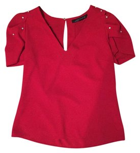 Zara Rhinestone Vneck Top RED