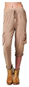 Other Burnout Casual Elastic Waist Yoga Cargo Pants Beige