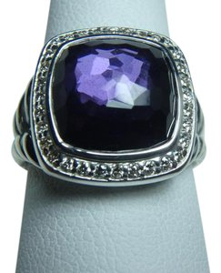 David Yurman 11mm Albion Ring with black orchid and Diamonds size 8, with pouch