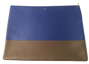 Céline Bicolor Document Laptop Ipad Blue and Olive Green Clutch