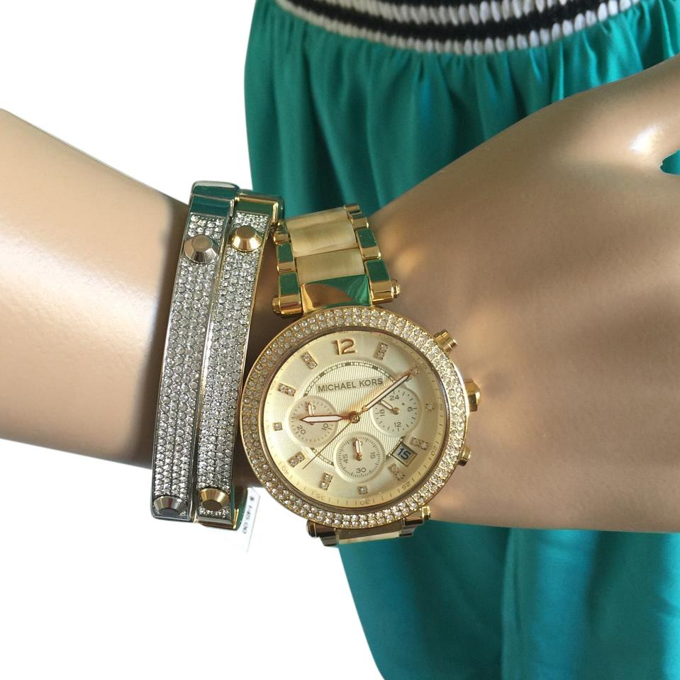 613f1660bb2c Michael Kors Gold  Horn Acetate Chronograph Parker and Gold-tone Mk5632  Watch