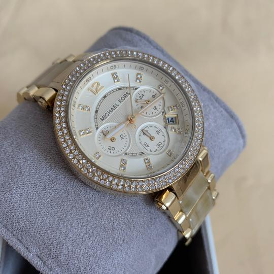 Michael Kors NWT Chronograph Parker Horn Acetate and Gold-Tone Watch MK5632 Image 10