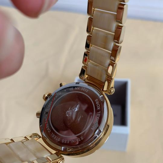 Michael Kors NWT Chronograph Parker Horn Acetate and Gold-Tone Watch MK5632 Image 11
