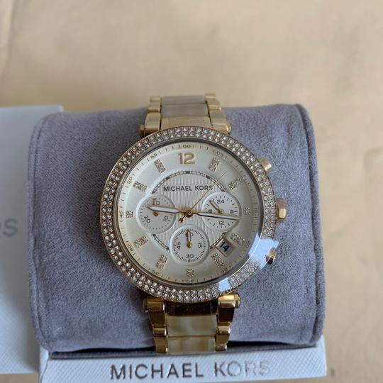 Michael Kors NWT Chronograph Parker Horn Acetate and Gold-Tone Watch MK5632 Image 2
