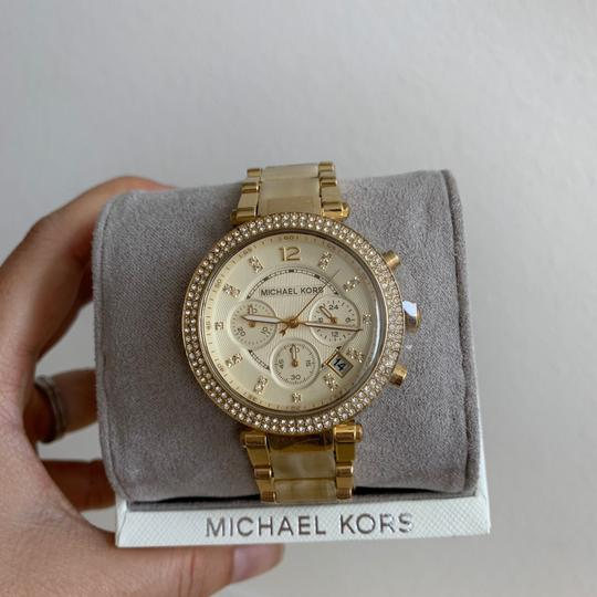 Michael Kors NWT Chronograph Parker Horn Acetate and Gold-Tone Watch MK5632 Image 3
