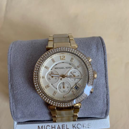 Michael Kors NWT Chronograph Parker Horn Acetate and Gold-Tone Watch MK5632 Image 4